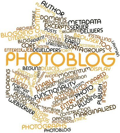 Abstract word cloud for Photoblog with related tags and terms Stock Photo - 16572036