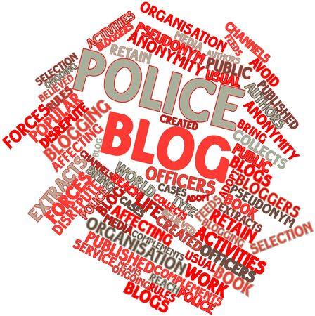 pseudonym: Abstract word cloud for Police blog with related tags and terms