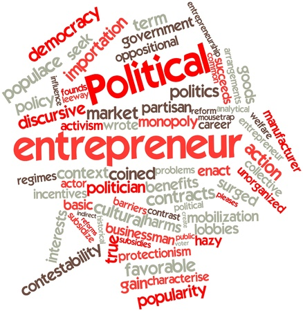 basic law: Abstract word cloud for Political entrepreneur with related tags and terms Stock Photo
