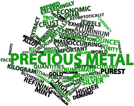 commanded: Abstract word cloud for Precious metal with related tags and terms
