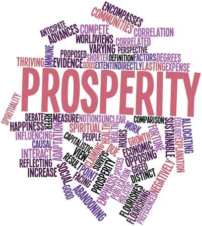 shorter: Abstract word cloud for Prosperity with related tags and terms