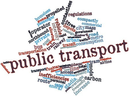 subsidize: Abstract word cloud for Public transport with related tags and terms Stock Photo