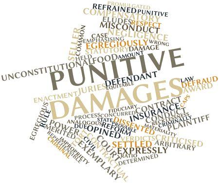 willekeurig: Abstract woordwolk voor Bestraffende schade met gerelateerde tags en voorwaarden