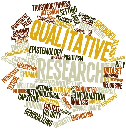 frequent: Abstract word cloud for Qualitative research with related tags and terms Stock Photo