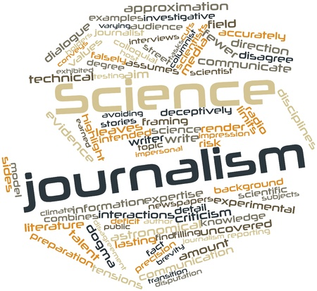impersonal: Abstract word cloud for Science journalism with related tags and terms Stock Photo
