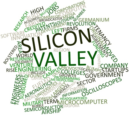 forerunner: Abstract word cloud for Silicon Valley with related tags and terms Stock Photo