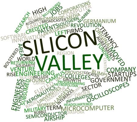 silicio: Nube palabra abstracta para Silicon Valley con etiquetas y términos relacionados