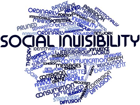 community recognition: Abstract word cloud for Social invisibility with related tags and terms