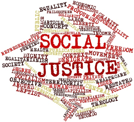 Nube de la palabra abstracta de la justicia social con las etiquetas y términos relacionados