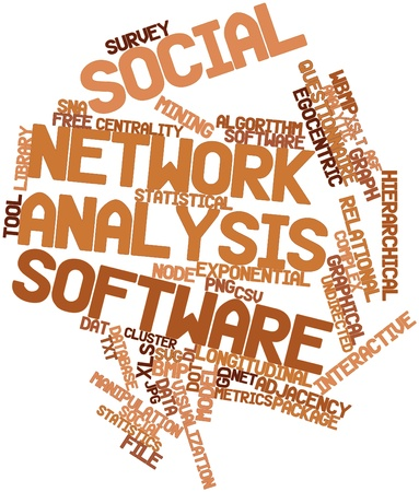 ico: Abstract word cloud for Social network analysis software with related tags and terms