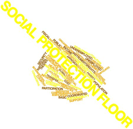 constraints: Abstract word cloud for Social protection floor with related tags and terms Stock Photo