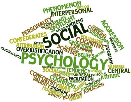 psicologia infantil: Nube palabra abstracta para la psicología social con las etiquetas y términos relacionados Foto de archivo