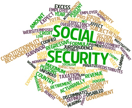 imposed: Abstract word cloud for Social Security with related tags and terms
