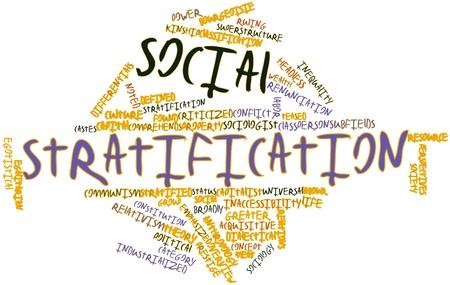 relaciones laborales: Nube palabra abstracta para la estratificación social con etiquetas y términos relacionados