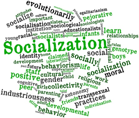 Abstract word cloud for Socialization with related tags and terms Stock Photo - 16572062