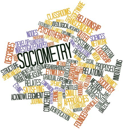 transcendence: Abstract word cloud for Sociometry with related tags and terms Stock Photo