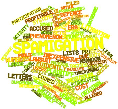 plaintiff: Abstract word cloud for Spamigation with related tags and terms