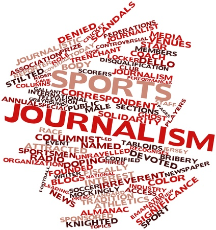Abstract word cloud for Sports journalism with related tags and terms Stok Fotoğraf