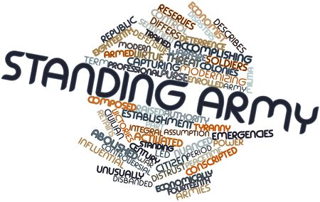 assumption: Abstract word cloud for Standing army with related tags and terms Stock Photo