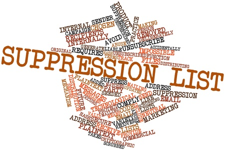 Abstract word cloud for Suppression list with related tags and terms Stok Fotoğraf - 16572303