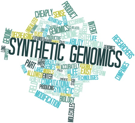 intent: Abstract word cloud for Synthetic genomics with related tags and terms Stock Photo