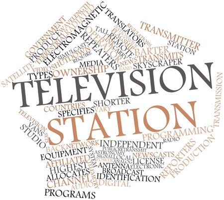 radiated: Abstract word cloud for Television station with related tags and terms Stock Photo