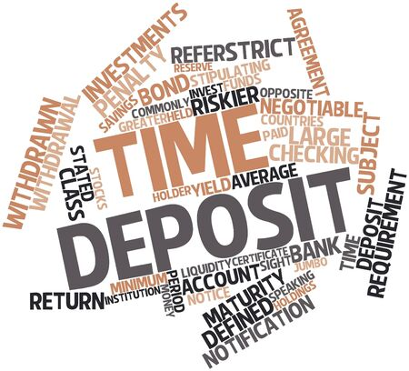 checking accounts: Abstract word cloud for Time deposit with related tags and terms Stock Photo