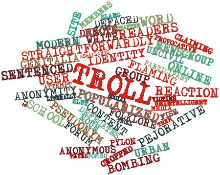 defaced: Abstract word cloud for Troll with related tags and terms
