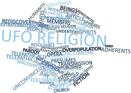 adherents: Abstract word cloud for UFO religion with related tags and terms Stock Photo