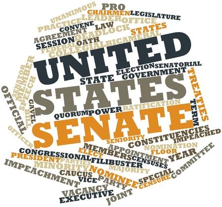 tratados: Nube palabra abstracta para Senado de Estados Unidos con las etiquetas y t�rminos relacionados Foto de archivo