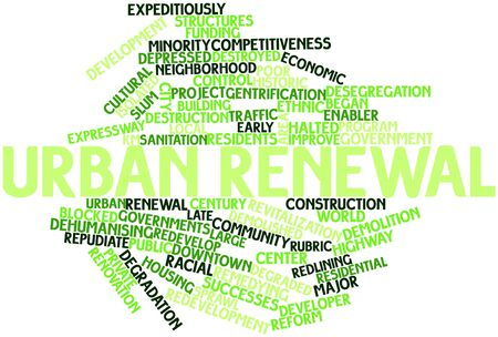 Abstract word cloud for Urban renewal with related tags and terms photo