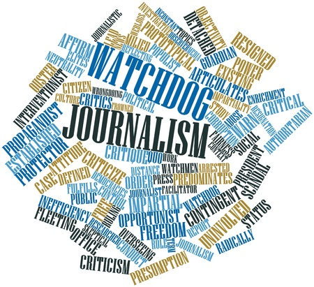 facilitator: Abstract word cloud for Watchdog journalism with related tags and terms
