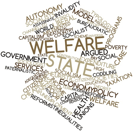 typology: Nube palabra abstracta para el estado de bienestar con etiquetas y t�rminos relacionados