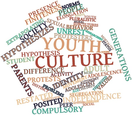 posited: Abstract word cloud for Youth culture with related tags and terms