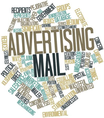 outrage: Abstract word cloud for Advertising mail with related tags and terms
