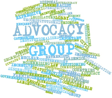 congeniality: Abstract word cloud for Advocacy group with related tags and terms