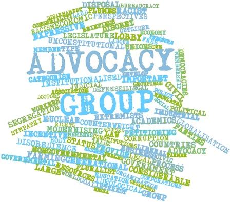 groupings: Word cloud astratto per il gruppo di advocacy con tag correlati e termini