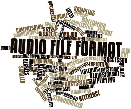 achieves: Abstract word cloud for Audio file format with related tags and terms