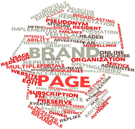owned: Abstract word cloud for Brand page with related tags and terms Stock Photo