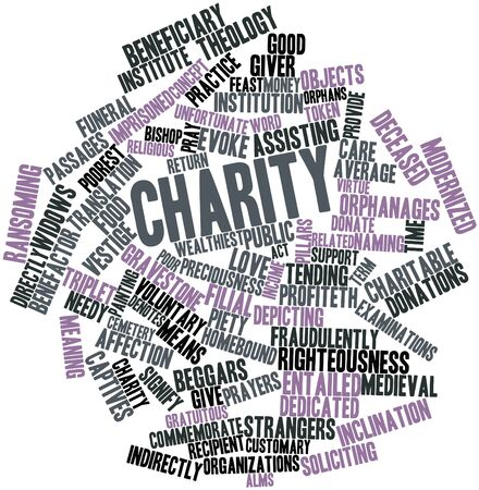 theology: Abstract word cloud for Charity with related tags and terms