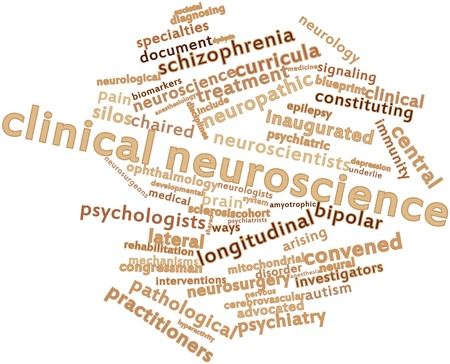 advocated: Abstract word cloud for Clinical neuroscience with related tags and terms Stock Photo