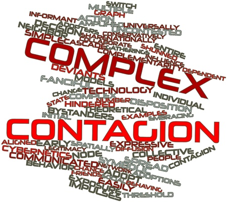 Abstract word cloud for Complex contagion with related tags and terms Stockfoto