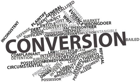trespasser: Abstract word cloud for Conversion with related tags and terms Stock Photo