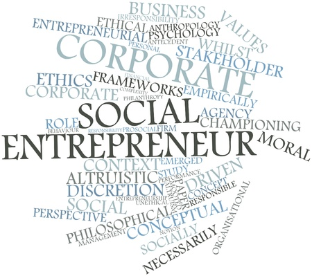 Abstract word cloud for Corporate social entrepreneur with related tags and terms photo