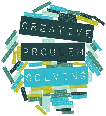 Abstract word cloud for Creative problem solving with related tags and terms