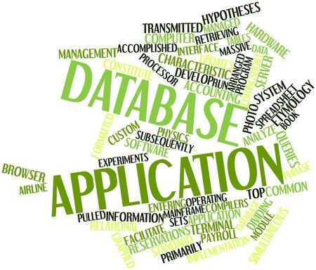 word processors: Abstract word cloud for Database application with related tags and terms