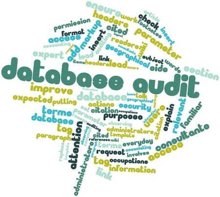 wiki: Abstract word cloud for Database audit with related tags and terms Stock Photo