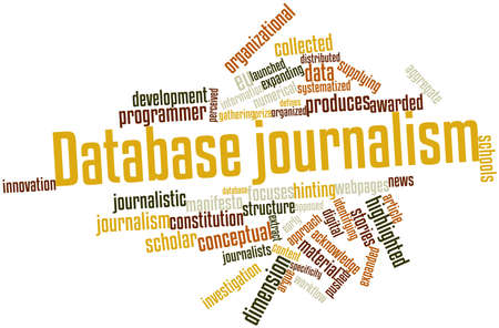 defines: Abstract word cloud for Database journalism with related tags and terms Stock Photo