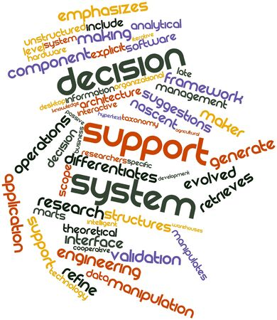 unstructured: Abstract word cloud for Decision support system with related tags and terms Stock Photo
