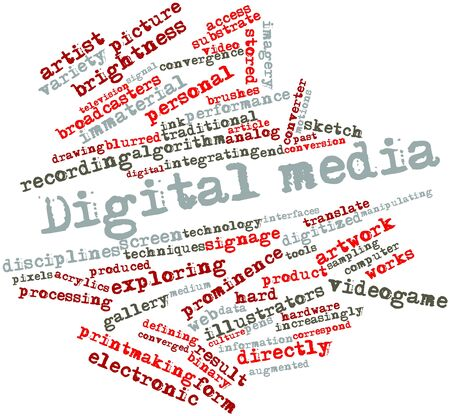 adopting: Abstract word cloud for Digital media with related tags and terms Stock Photo